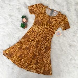 LuLaRoe Amelia Yellow Geometric Fit N Flare Dress